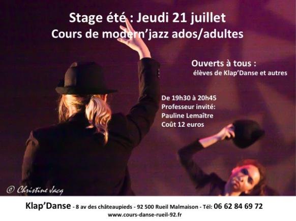 Publicité stage d'été de Danse moderne