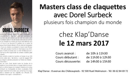 Cours de claquettes le 12 mars 2017 avec Dorel Surbeck plusieurs fois champion du monde de claquettes