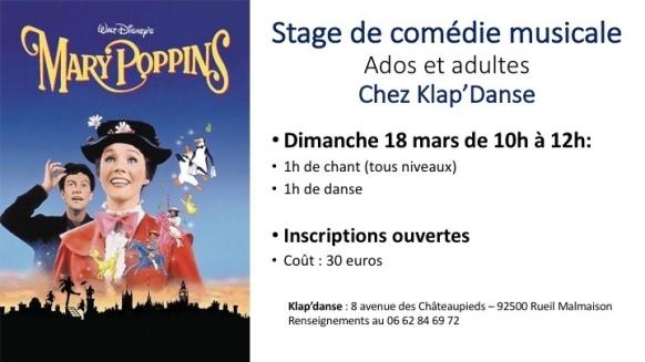 Stage de Comédie musicale le 18 mars sur le thème de Mary Poppins